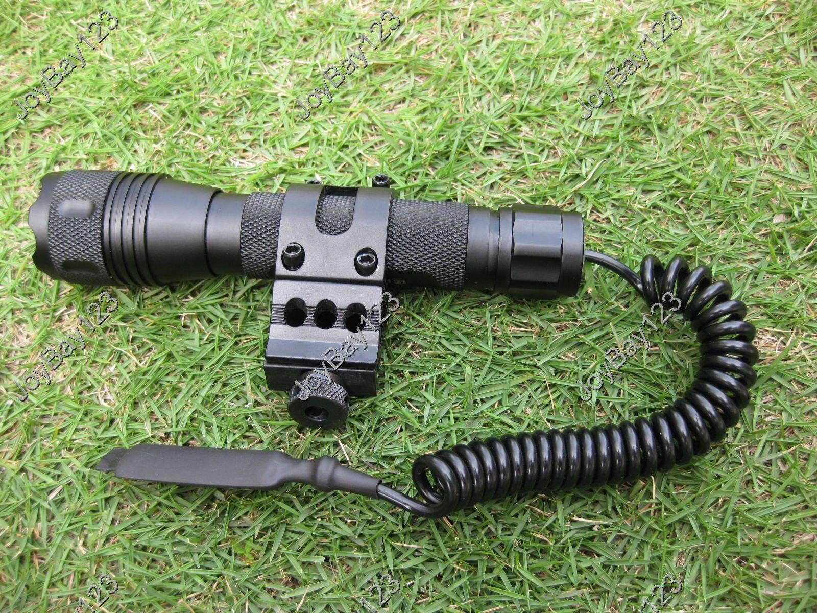CREE T6 750 Lumens LED Flashlight & 20mm Picatinny Rail Mount Remote Switch Set