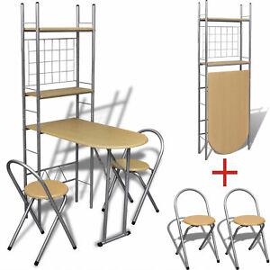 Details zu Küchentisch Küchenbar klappbar mit 2 Stühlen Tresentisch Set  Frühstückstheke MDF