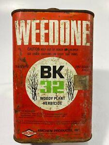 Vintage-Collectible-AMCHEM-WEEDONE-Woody-Plant-Herbicide-1-Quart-EMPTY-Tin-7-5-034