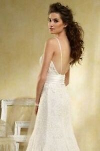 5d816f3ea9f Details about 💕 ALFRED ANGELO 💕 1399 8 MODERN VINTAGE IVORY LACE LOW BACK FIT  FLARE DRESS
