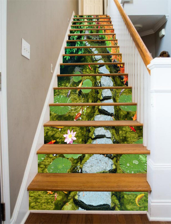 3D Lotus Leaves 9 Stair Risers Decoration Photo Mural Vinyl Decal Wallpaper CA