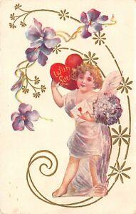 Valentine-Gossmer-Lavender-Cupid-in-Art-Nouveau-Purple-Flowers-Red-Heart-Emboss