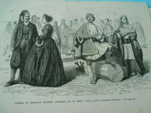 Anciens et nouveaux costumes nationaux de la Grèce Gravure 1867