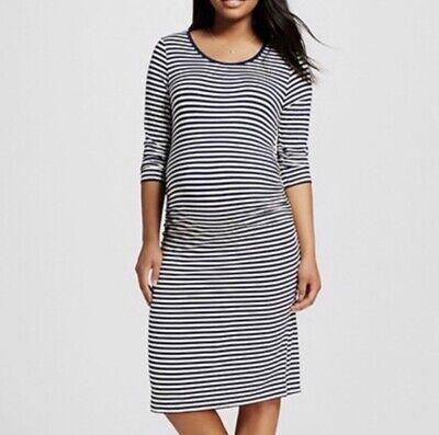 Liz Lange Target 3//4 Sleeve Striped Maternity Dress in Navy Cream ~ NWT ~ Size M