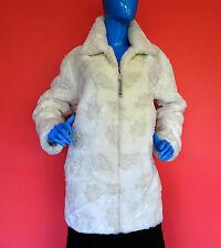 White Textured Faux Fur Plush Winter Coat M Medium 10 12 14 Soft Warm Canada