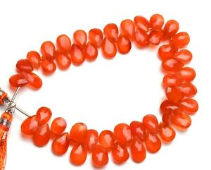 Natural Gemstone Carnelian 10x7MM Approx Size Faceted Pyramid Shape Briolette Beads 9 Inch Full Strand Orange Beads for Jewelry Making