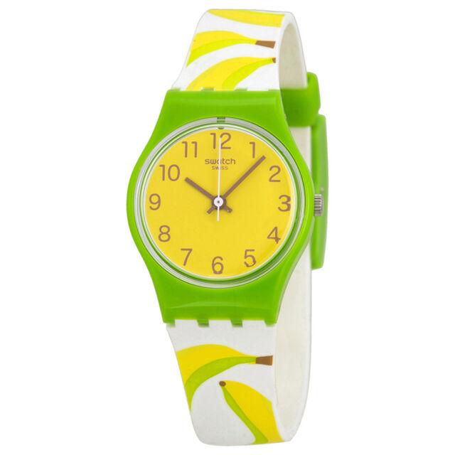 Swatch Banana Shake Yellow Dial Banana Pattern Silicone  Ladies Watch LG127