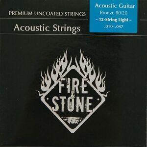 FIRE-amp-STONE-12-string-acoustique-western-guitare-80-20-Bronze-Corde-LOT