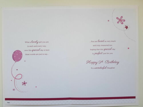Details about  /Daughter Age 9 9th Swan Crown /& Rainbow Design Happy Birthday Card Lovely Verse