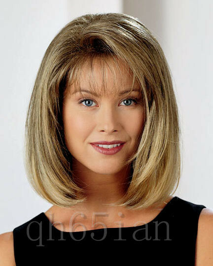 Middle-long brown wig stylish ladies sexy Hair wigs + cap