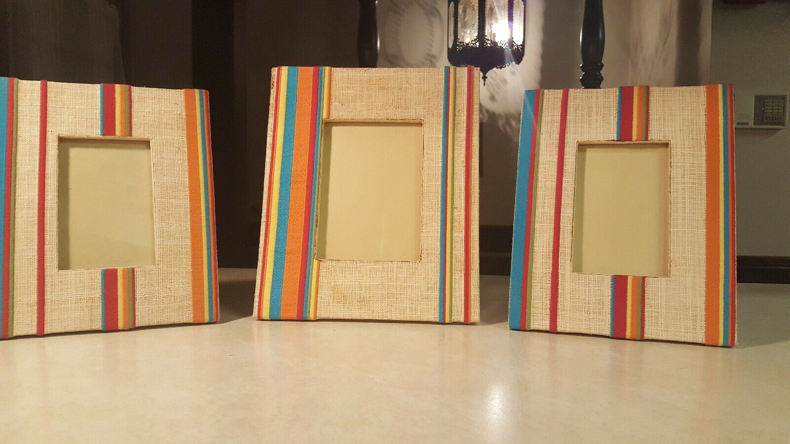 Three Vintage Woven Rattan And Striped Embroiderot Picture Frames