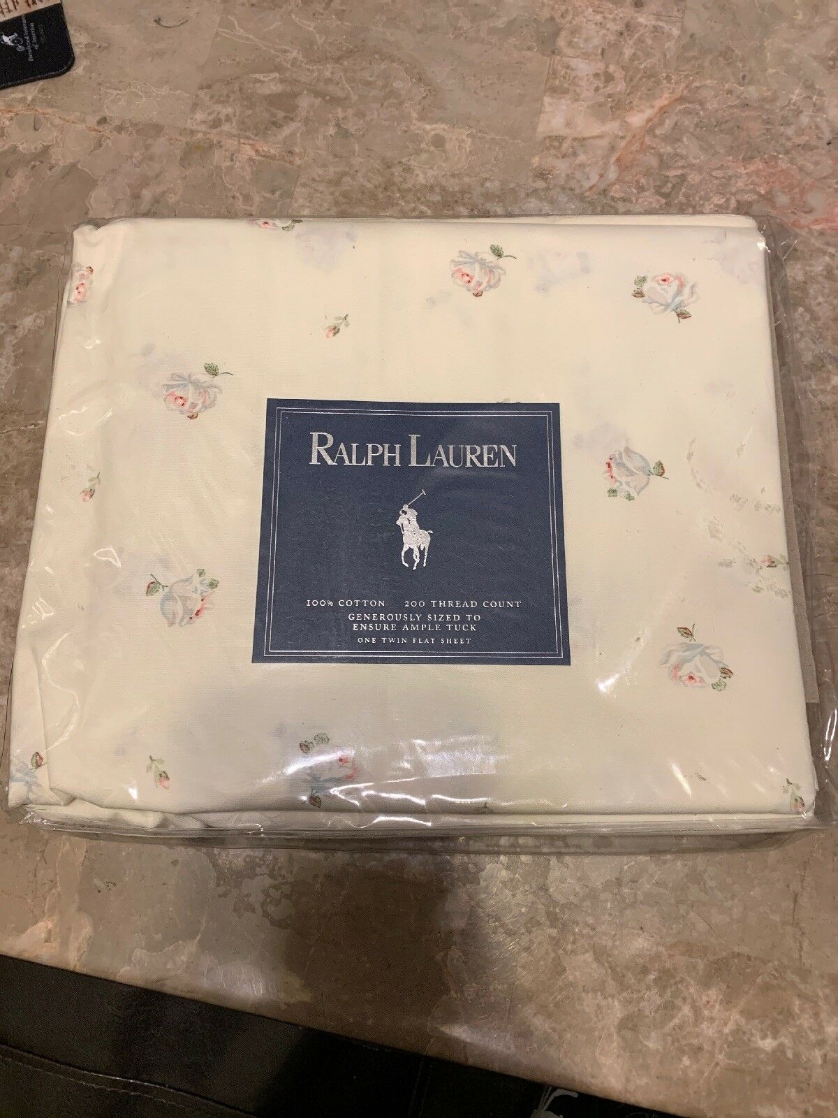 RALPH LAUREN NEW  TRACY  COTTAGE FLORAL TWIN FLAT SHEET-100% COTTON-RARE