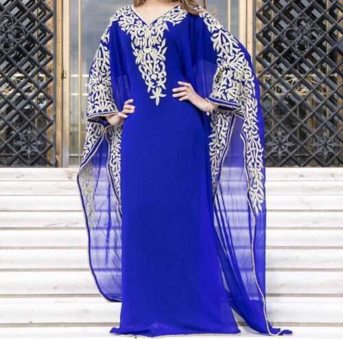 Dubai Farasha Pink Black Blue Moroccan Kaftan Georgette Dress Jilbab Arabian