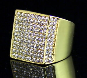875ced23726e76 Mens Pinky Ring Iced out Cz Flat Screen Square Luxury 14k Gold ...