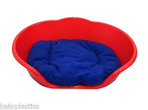 Extra Large Xl Rouge Lit Pour Chien / Chat, Lit / Panier Avec Un Coussin De Couleur Bleue-afficher Le Titre D'origine