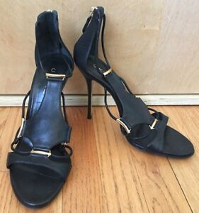 Casadei-black-leather-gold-zipper-stiletto-high-heel-sandals-size-8-5-GORGEOUS