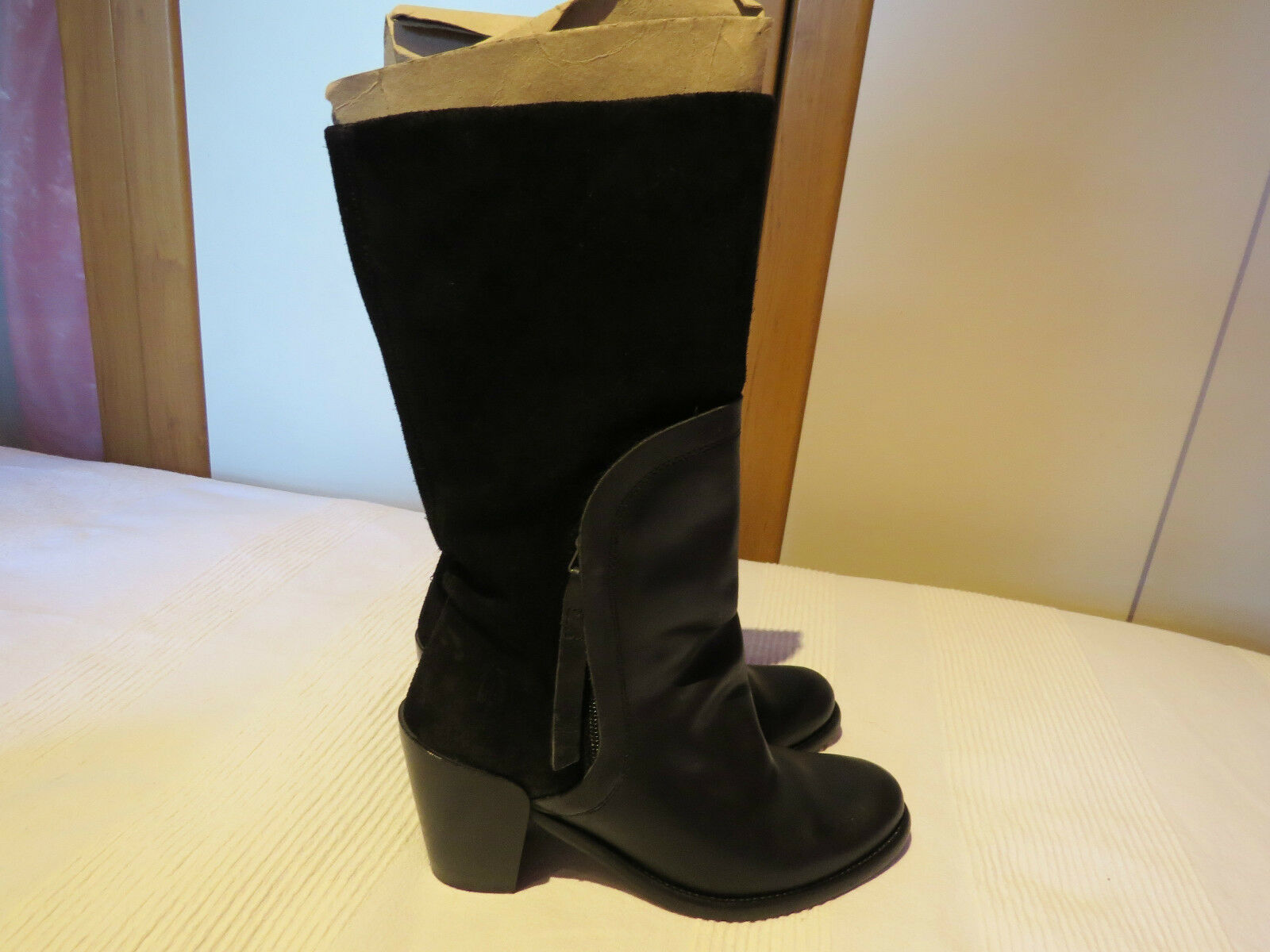 FLY LONDON BLACK LEATHER & SUEDE WESTERN MID-CALF BOOTS UK 4 EUR 37