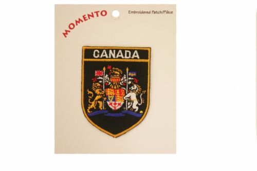 NEW CANADA BLACK SHIELD EMBROIRERED IRON-ON PATCH CREST BADGE 2 X 2.8 INCHES .