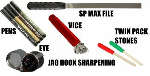 Jag Products Hook Sharpening Tools RANGE -SP Stones, Max File, Vice & Ultra Eye