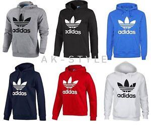 Herren-Adidas-Originals-Herren-Trefoil-Fleece-Kapuzenpullover-Top-Sweatshirt-Pullover-S-M-L-XL