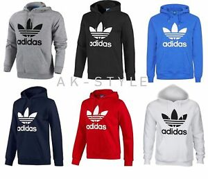 5cee3ca52bca2 Image is loading Mens-Adidas-Originals-Mens-Trefoil-Fleece-Hoodie-Top-