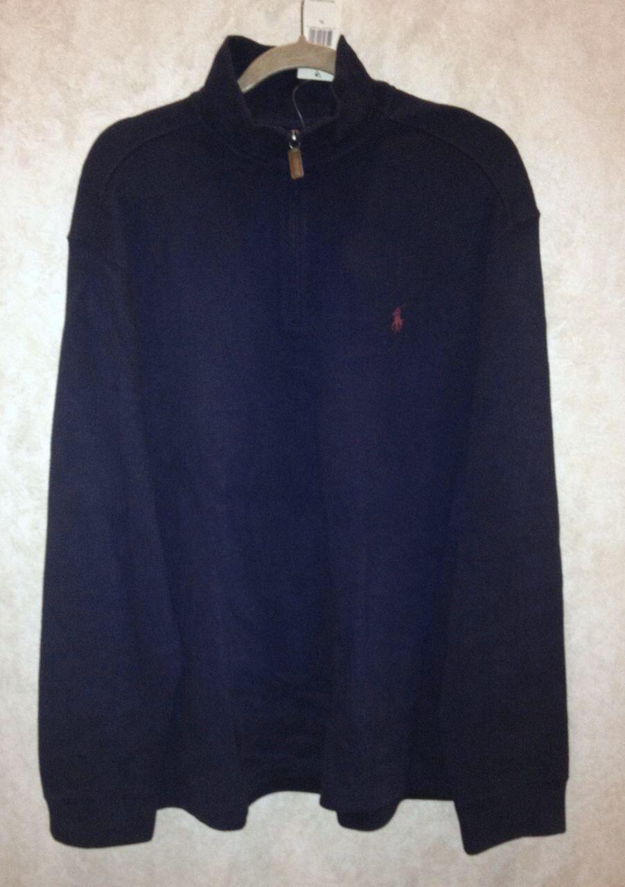 POLO Ralph Lauren Navy Blau Cotton 1/2 Zip Pullover L/S Sweater NEW  Herren 2XLT