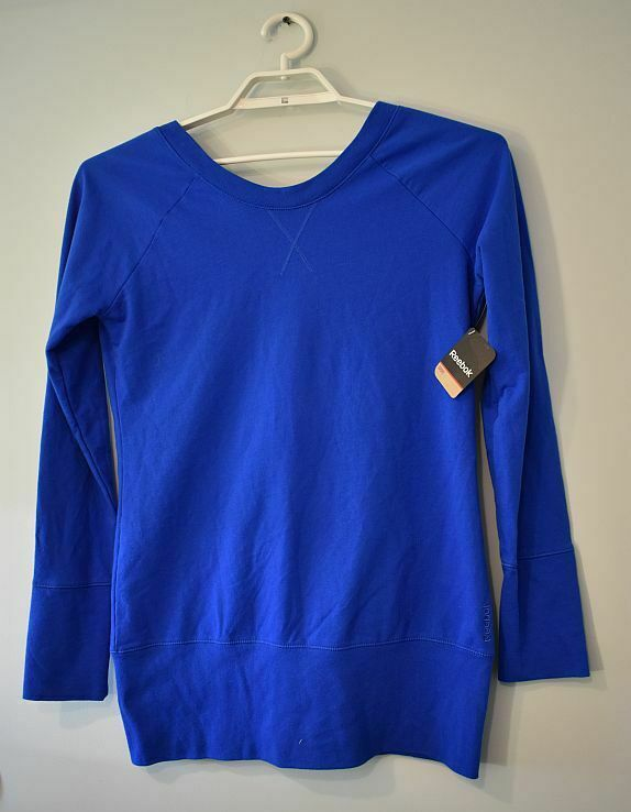 Reebok nwt top womens M french terry open back tunic blue