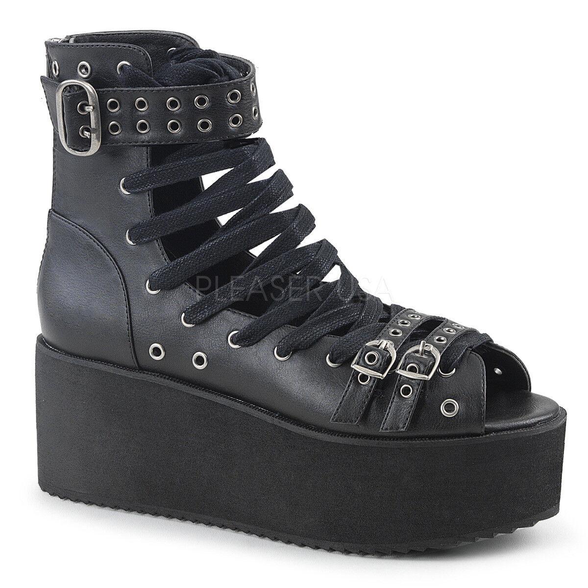 Demonia Demonia Demonia Gótico Punk Con Cordones Agarre 105 BVL Negro botas al Tobillo Alto Sandalias De Plataforma  compra en línea hoy