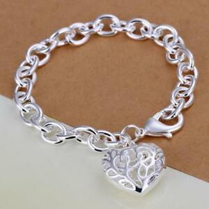 NEW-Fashion-Jewelry-925-Argento-Sterling-Hollow-STEREO-Cuore-Forma-Bracciale-Catena