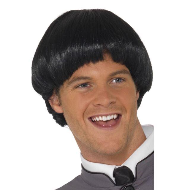 Mens Black Bowl Cut Style Swinging 60s Wig Character Fancy Dress Pop Rock Singer