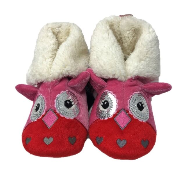 NEW Girls Youth Pink Cuddl Duds Animal Foldover Bootie Slippers sz 13//1