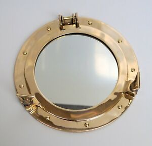 12-034-Brass-porthole-nautical-maritime-ship-boat-wall-mirror-home-decor-christmas