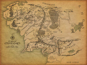 image is loading a3 vintage style poster middle earth map lord