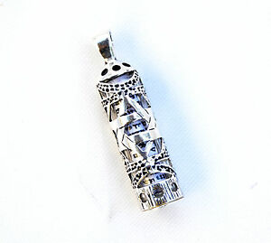 Sterling-Silver-925-Mezuzah-amp-Scroll-Pendant-W-Magen-David-Judaica-Made-israel