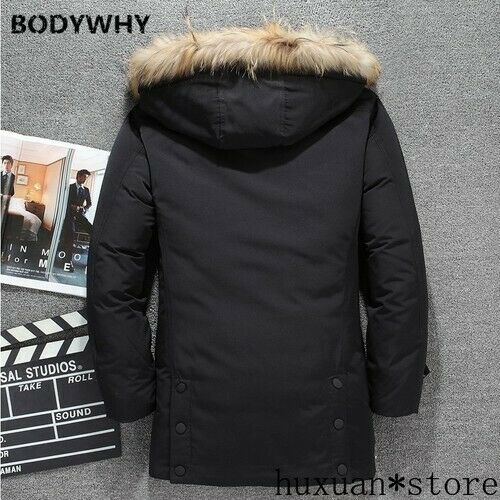 40 Degree Winter Men Fur Collar   White Duck Down Jacket Long Thick Windproof