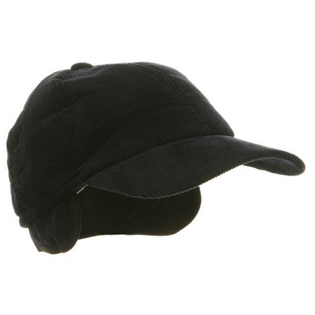 Adult Men s Winter Corduroy Quilted Baseball Cap Hat With Ear Flap Navy LG  58cm c1b4bab2806