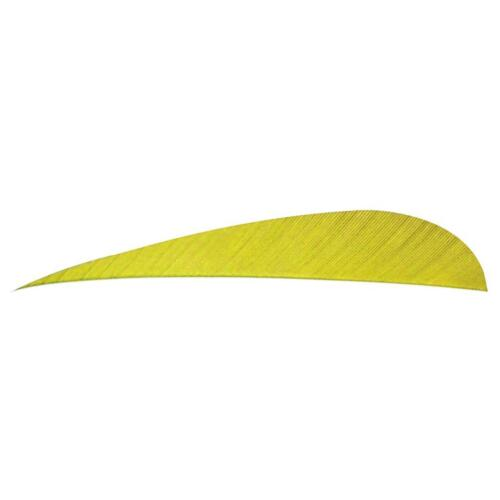 """Yellow Trueflight 5/"""" Feathers Solid Color Parabolic Left Wing 100 Pack"""