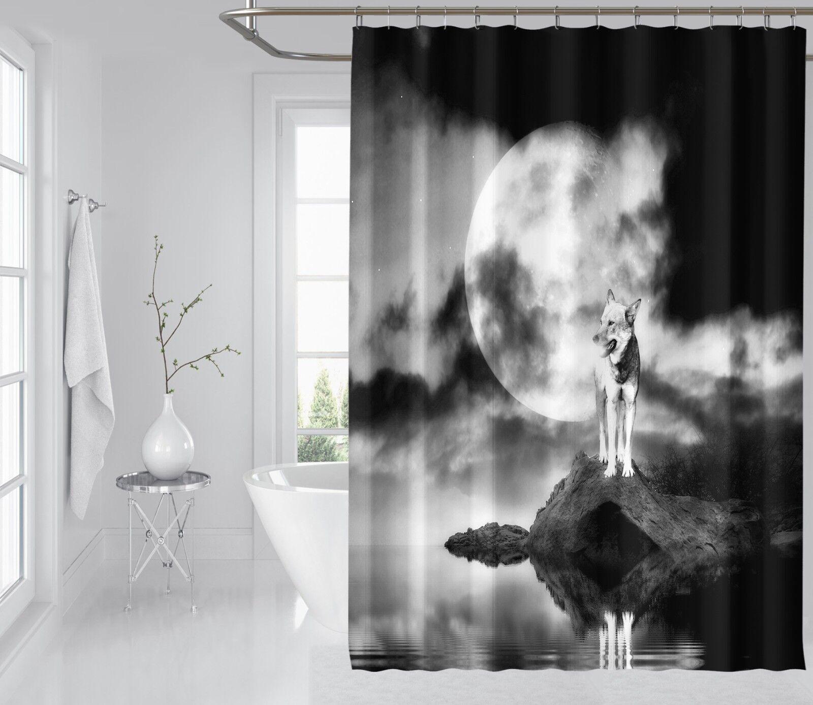 3D Moon Wolf 24 Rideau de Douche Imperméable Fibre Salle de Bain Home Windows Toilette