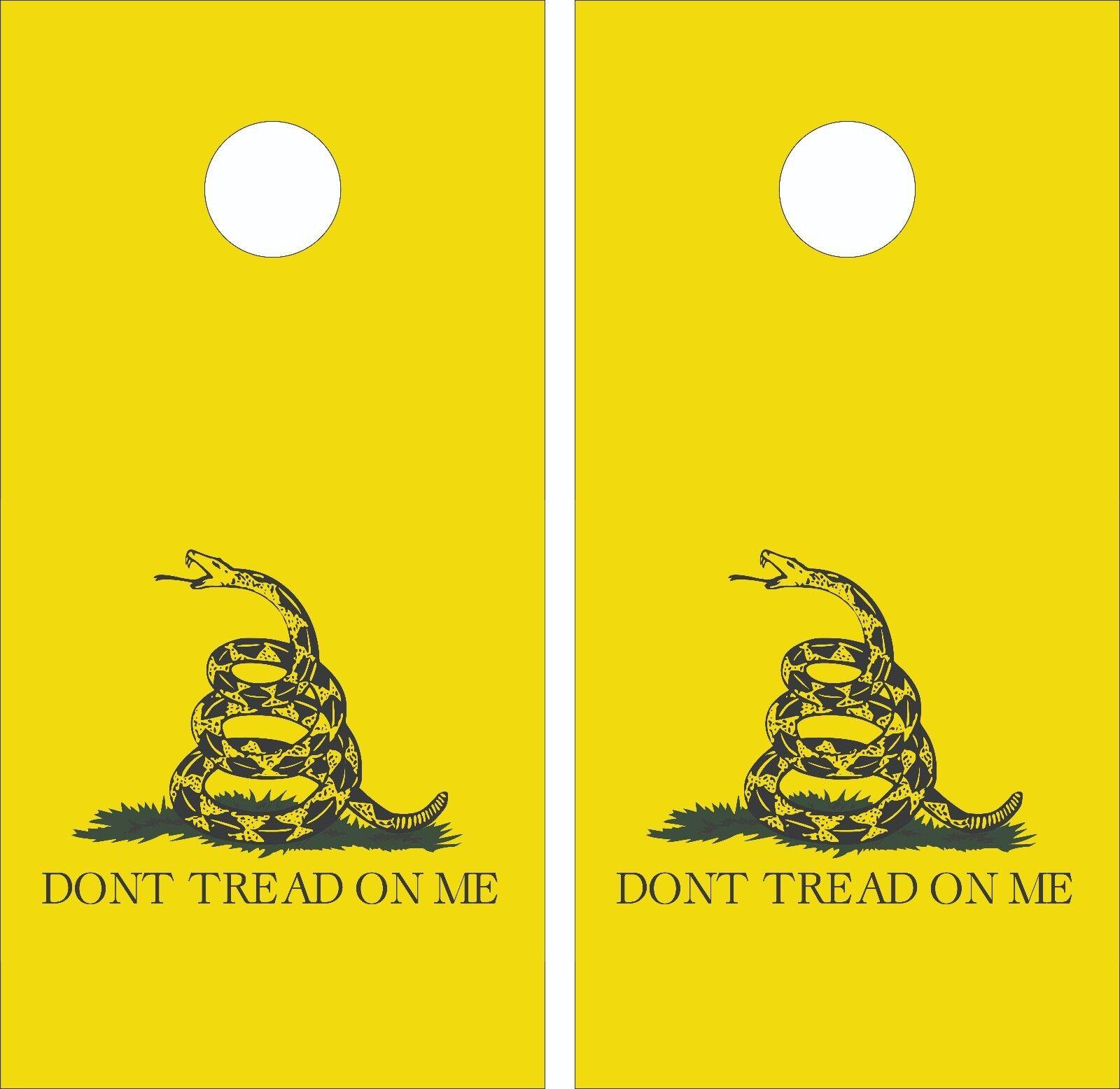 Don't Tread On Me - Gadsden flag- Cornhole Board Skin Wrap Decal  SET -LAMINATED