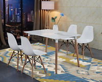 Rectangle White Dining Table And 4 Chairs Retro Dsw Eiffel Style Furniture
