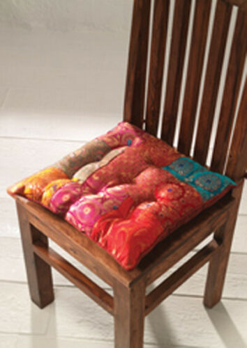 Multi Colour Indian Brocade Patchwork Chair Seat Pad Cushion 40 x 40 cm