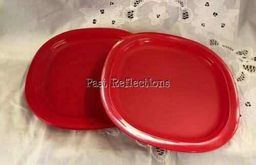 TUPPERWARE SQUARE ALFRESCO LUNCHEON PLATE SET//4 MICROWAVE REHEATABLE RED