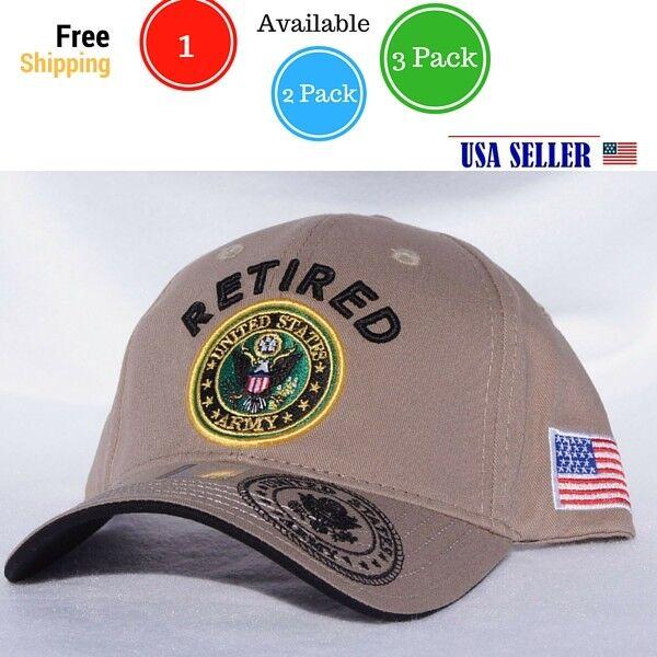 NWT US ARMY RETIRED 3D LOGO EMB.BASEBALL CAP//HAT Adjustable Back COLOR KHAKI