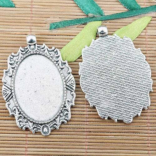 2pcs tibetan silver color oval cabochon photo frame EF2452