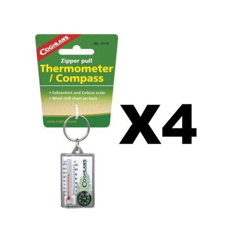 4-Pack Coghlan/'s Zipper Pull Thermometer Fahrenheit//Celsius Compass Windchill