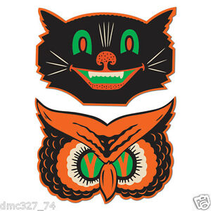 10 retro halloween die cut cutouts owl cat vintage beistle 1940 reproduction