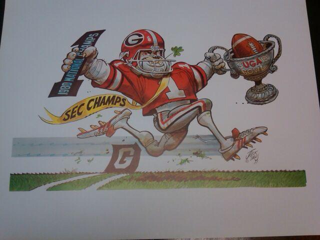 University of Georgia Bulldogs Football 1990 Jack Davis artwork
