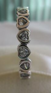 02f50515c Image is loading Authentic-Genuine-Pandora-Silver-Sparkling-Heart-Stackable- Ring-