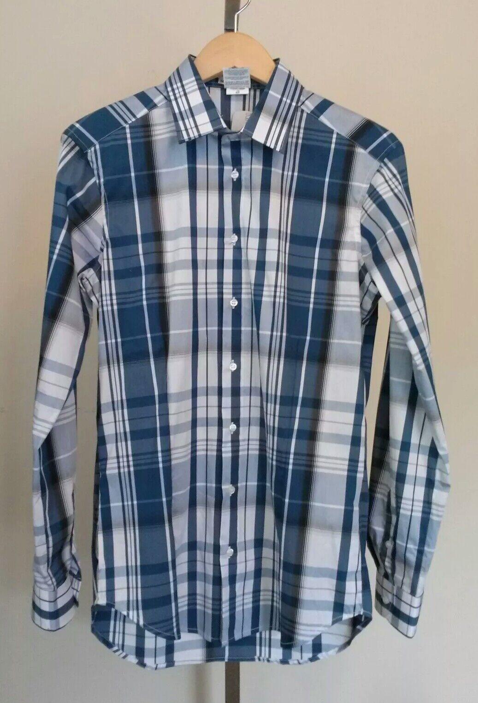 NWT Mens NARACAMICIE bluee and White Plaid Button Front Shirt Size Medium