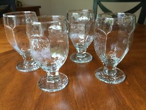 Four-4-Vintage-Libbey-Rock-Sharpe-Chivalry-Iced-Tea-Water-Goblets-5-3-8-034